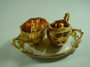 Huebsches-kleines-Set-Kaennchen-Tablett-Schale-Porzellan-um-1900-Goldrand-o-Marke