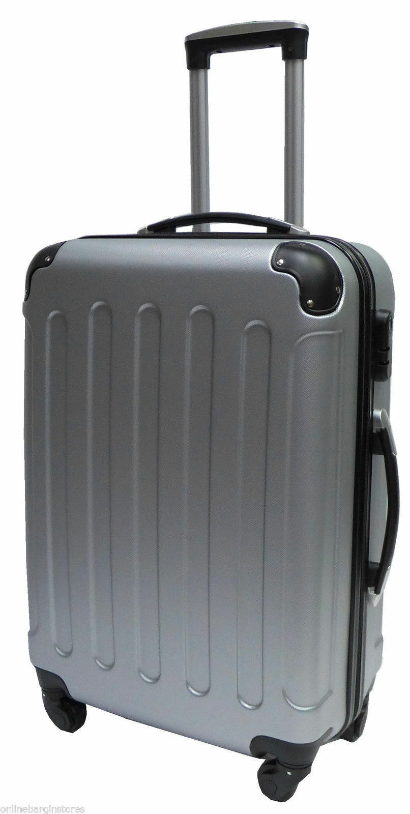 silver hard shell suitcase 4 wheel spinner luggage trolley. Black Bedroom Furniture Sets. Home Design Ideas