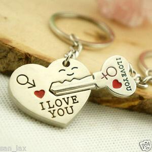 Hot Couple Gift Heart Key Keychain Keyring Set Valentines'day Love ...