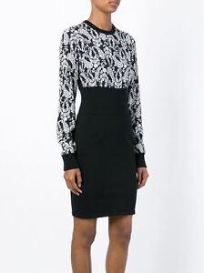 DOLCE-amp-GABBANA-2945-Authentic-New-Black-Cashmere-Flower-Print-Cady-Dress