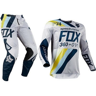 Fox 180 Cota MOTOCROSS JERSEY E Pantaloni 2019 Grigio Navy Motocross Enduro MX CROSS
