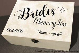 Details About Personalised Wedding Box Sticker Brides Memory Box Keepsake Box Sticker Only