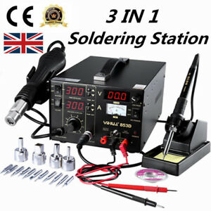 3 in1 853D 230V  DC Power Supply SMD Rework Station Soldering Hot Air Gun Welder 6924517824901