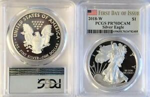2018-W-Silver-Proof-American-Eagle-PCGS-PR-70-DCAM-First-Day-of-Issue-FDOI
