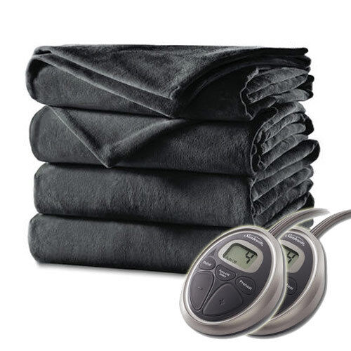 Sunbeam Velvet Plush Premium Soft Electric Heated Blanket Queen Charcoal Grey