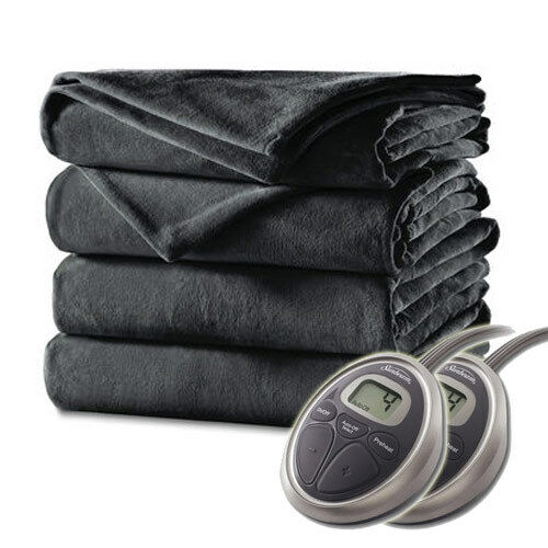 Sunbeam Velvet Plush Premium Soft Electric Heated Blanket Queen Charcoal Grey
