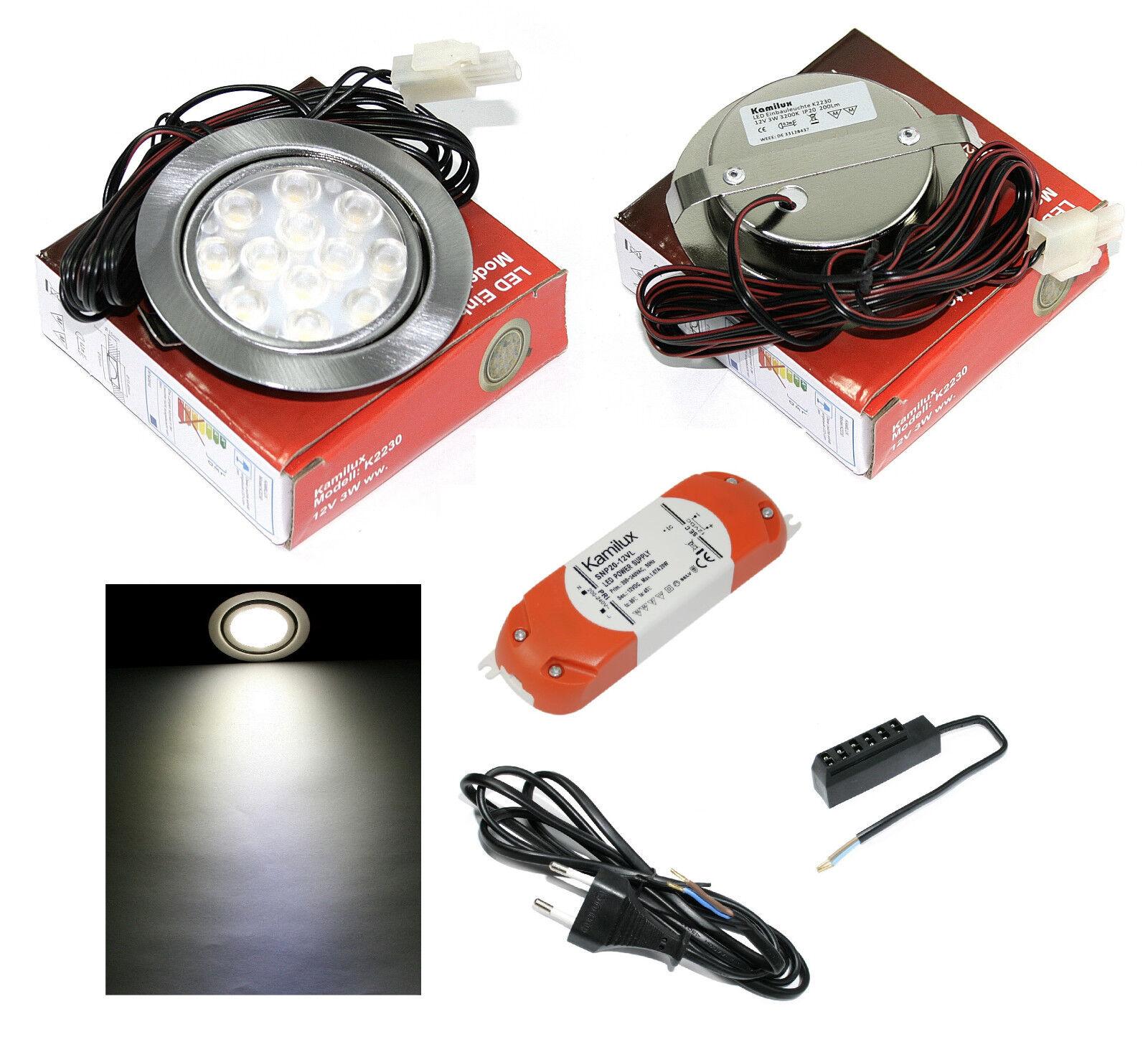 1 - 10er Mobili Lampada 12v LED MOBI 3w = 30w bianco incl. amp di distribuzione + TRASFORMATORE