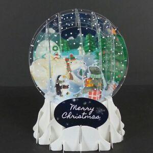 Arctic-Animal-Christmas-Snow-Globe-Greeting-Card-3D-Pop-Up-Holiday-Card