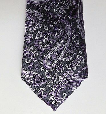 Purple and grey Paisley tie St George by Duffer woven floral pattern washable