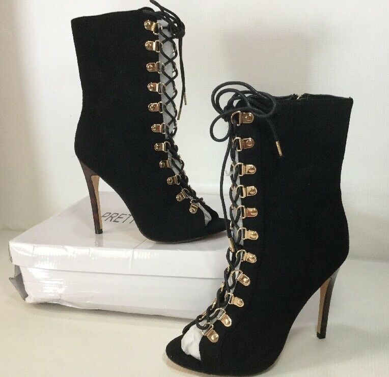 Pretty Little Things Elina Black Lace Up Open Toe Stiletto Ankle Boot Sz 6 M