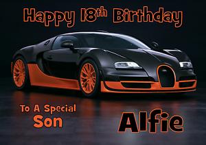 personalised birthday card Bugatti daughter sister grandson son dad