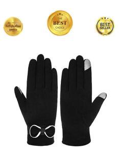Women-039-s-Touch-Screen-Lined-SmarTouch-eTip-Touchscreen-Winter-Gloves-Black