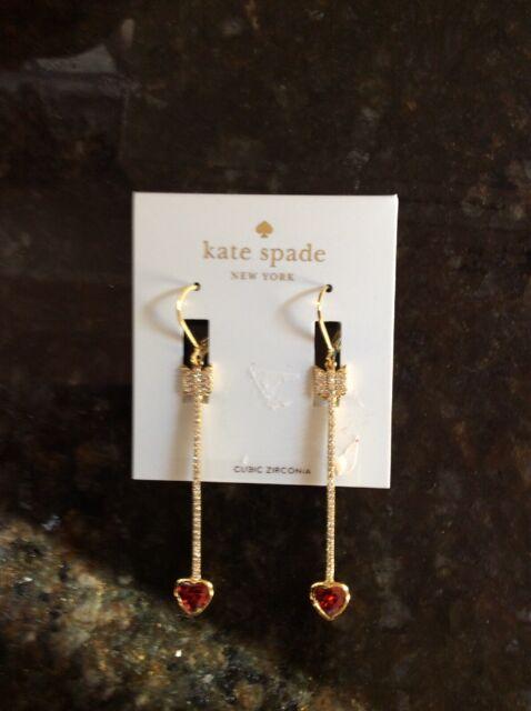 $68 Kate Spade Gold Tone Crystal Cascade Drop Earrings S1e
