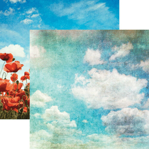 Scrapbooking Paper RED POPPIES 2pcs Reminisce BLUE SKIES 12x12 Dbl-Sided