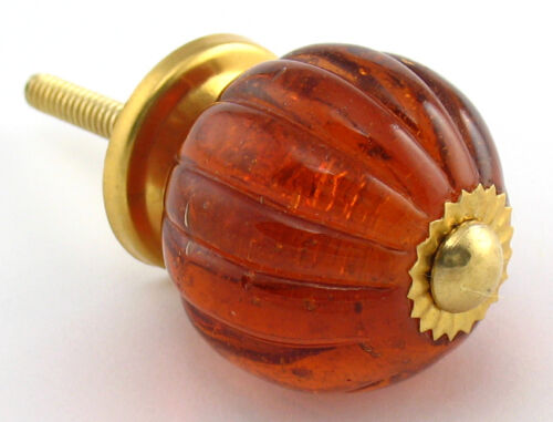 Glass Cabinet Handles Amber K72 ~Set//8 Kitchen Knobs or Furniture Drawer Pulls