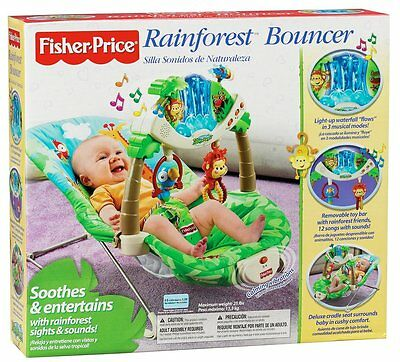Fisher Price Rainforest Monkey Bouncer Seat Activity Vibrating Musical Chair NIB