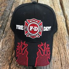 Black Fire Fighter Ed Department Fighters Emblem Embroidered Hat Cap hats