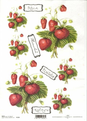 Rice Paper for Decoupage Scrapbooking Strawberries A4 ITD R126