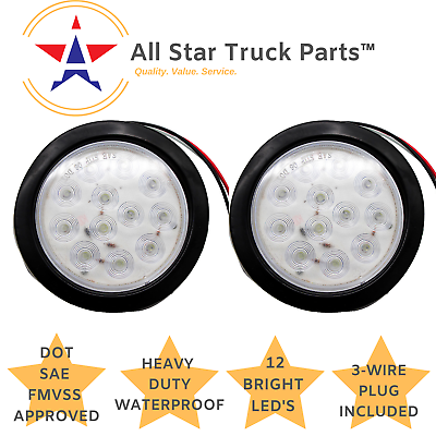 2 White 4 Inch 7 LED Round Stop//Backup//Reverse Truck Trailer Tail Light Kit w Grommet /& Pigtail 4 Red