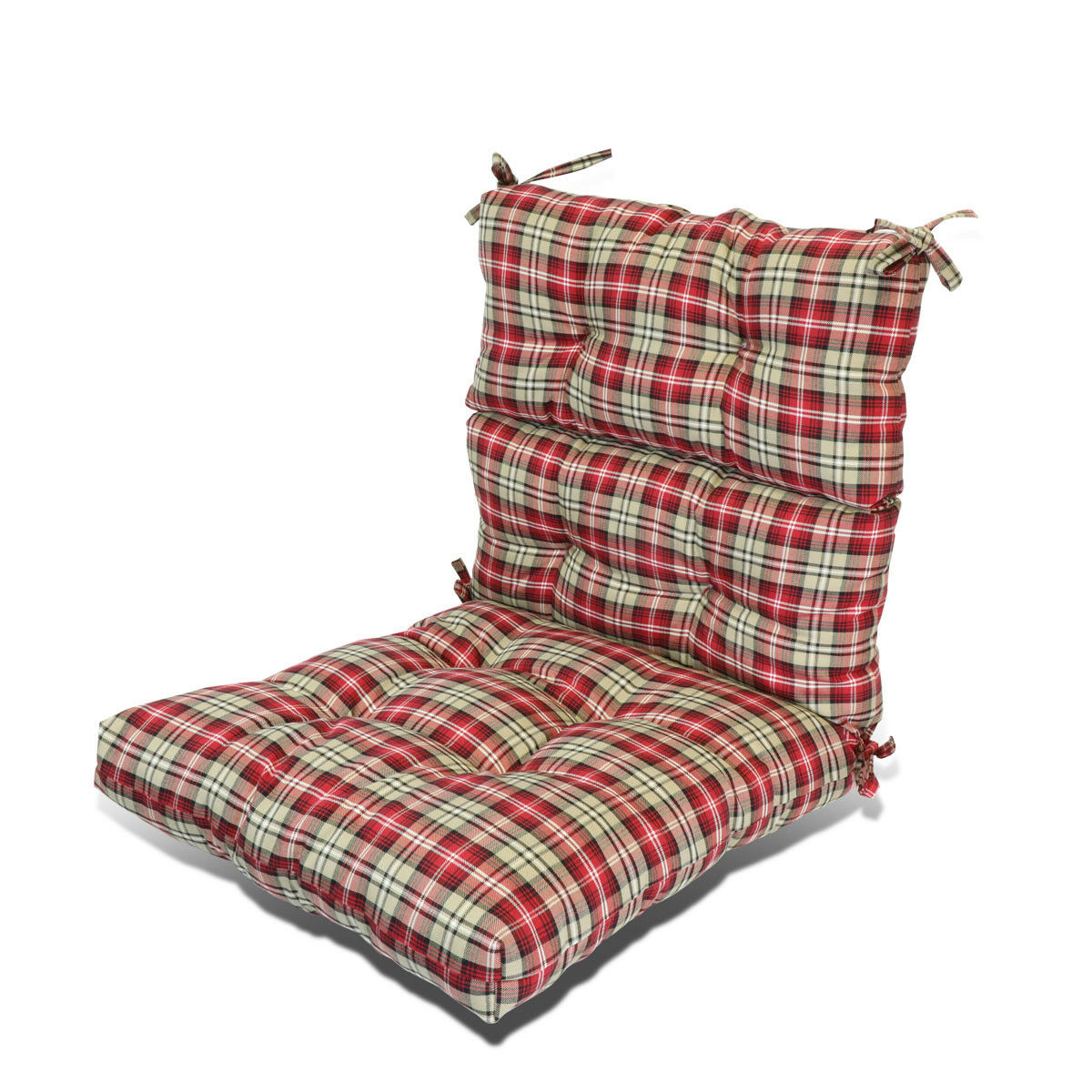 3 thick patio garden dining seat back chair cushion seat pad pillow red stripe 29741910775 ebay. Black Bedroom Furniture Sets. Home Design Ideas