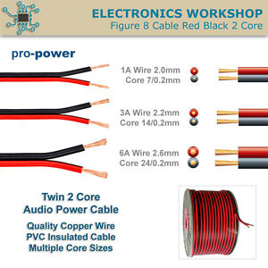 Quality 2 Core Red Black Speaker Power Auto Cable Insulated Copper ...