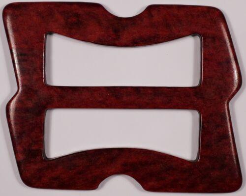 3x VINTAGE PLASTIC 3 BAR SLIDES TRI GLIDE BUCKLES FOR WEBBINGMOTTLED RED 3CM