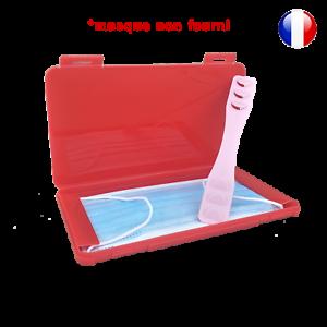 Boite-de-rangement-rouge-et-attache-rose-pour-masque