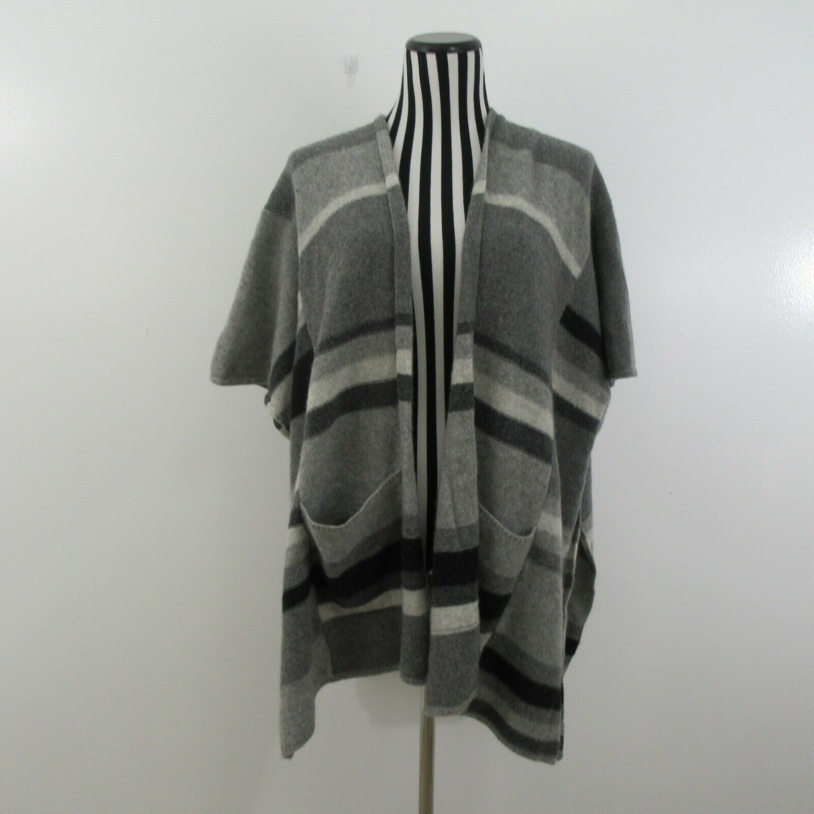 Splendid Knitted Soft Cashmere Wool Poncho Coat Sweater Stripe One Size