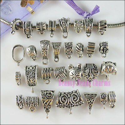 30 Mixed Bails Tibetan Silver Connector Charms European Bail Beads Fit Bracelet