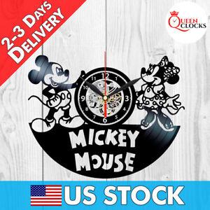 Disney Mickey Mouse Minnie Lp Vinyl Record Wall Clock Kids