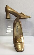 Baldinini Ladies Gold Leather 70s Vintage Heeled Loafer Shoes UK 6.5 EU 39.5