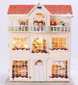DIY Artisanat Miniature Projet Kit en Bois Maison de Poupées Villa avec Musique