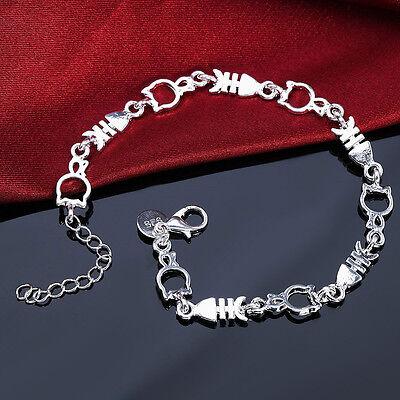 Fashion 925 Sterling Silver Women Charm Beads Bracelet Cat Fish Bangle Jewelry