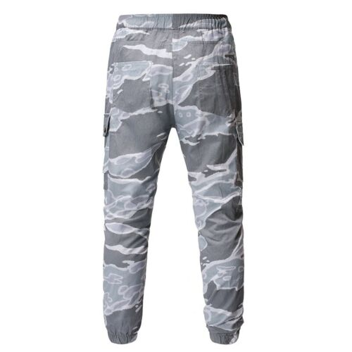 Mens Camouflage Cargo Pants Drawstring Elastic waist Jogging Outdoor Trousers B