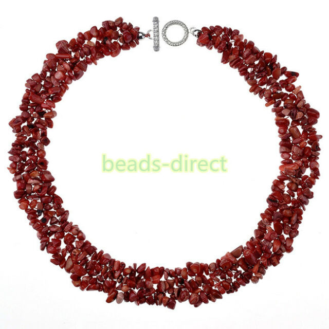 """1 Pcs Natural Dyed Red Coral Gemstone Chips Beads Necklace Christmas Gift 18""""L"""