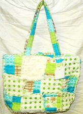 Blue & Lime Green Quilted Patchwork Rag Purse Handbag Bag NWT #33129