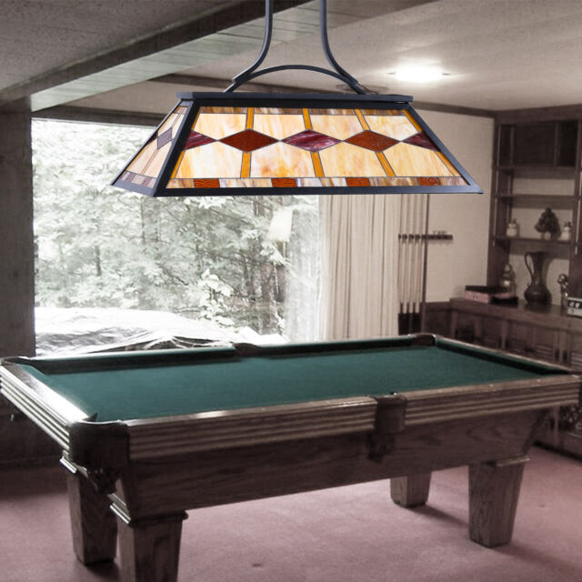 3 Light Pool Table Tiffany Style Hanging Fixture Steel Construction UL  Listed