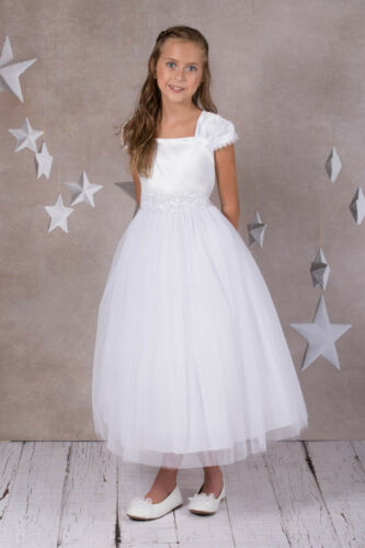 Classic Flower Girl IVORY Cap Sleeved Beaded Dress First Holy Communion Wedding