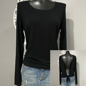 XL-FABLETICS-Womans-Black-Open-Tie-Back-Ling-Sleeve-Top
