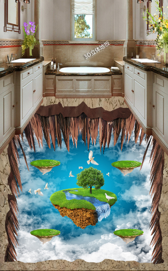3D Sky Waterfall Bird 77 Floor WallPaper Murals Wall Print Decal AJ WALLPAPER US