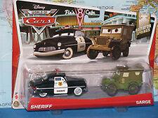 DISNEY WORLD OF CARS 2 PACK SHERIFF & SARGE RADIATOR SPRINGS *BRAND NEW & RARE*