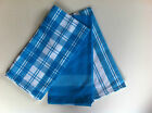 Aqua Blue Madrid Check & Stripe Tea Towels - Set of 3 - 50cm x 70cm 100% Cotton