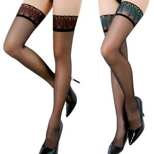 2ee81e1fb Women Sexy Over Knee Tights Thigh High Peacock Lace Top Stockings ...