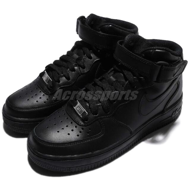 online store 15cb4 11c11 Wmns Nike Air Force 1 Mid 07 LE Black Out Women Shoes Sneakers AF1 366731-