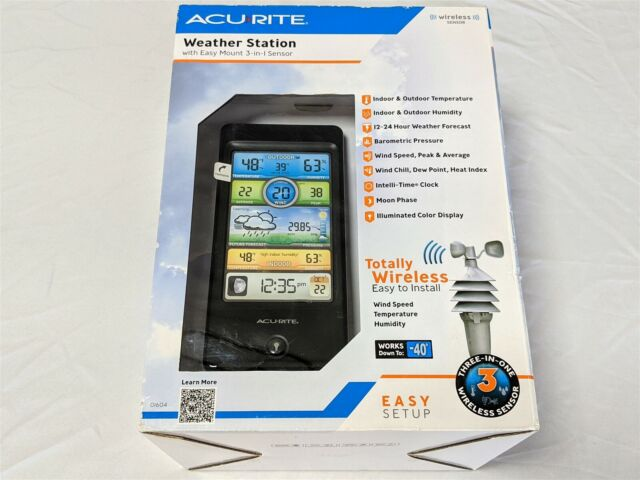 AcuRite 01604 Easy Mount 3-In-1 Sensor Wireless Weather Station White New