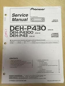 pioneer service manual for the deh p430 p4300 p43 car stereo mp ebay rh ebay com Pioneer Deh Wiring-Diagram Pioneer DEH- X6500BT