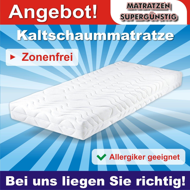 Zonenfreie Kaltschaummatratze, Allergiker geeignet H2 90x200x14cm