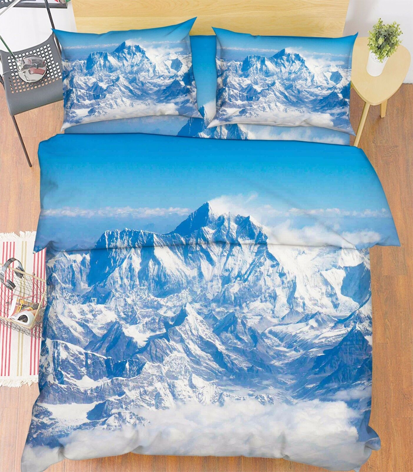 3D Berg Muster 827 Bett Kissenbezüge steppen Duvet Decken Set Single DE Kyra