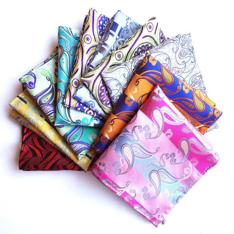 Mens Classic Paisley Floral Handkerchief Wedding Party Pocket Square Hanky