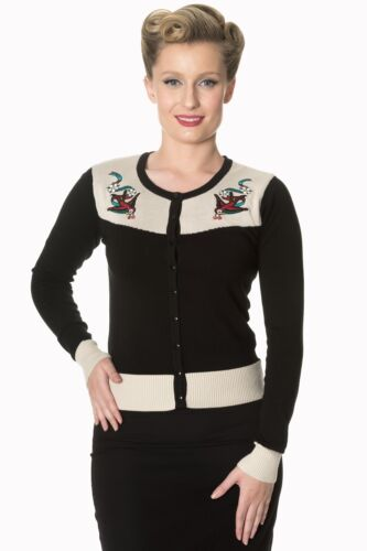 Banned Young Love Noir Swallow Nautique Cardigan Vintage Rockabilly 8-16